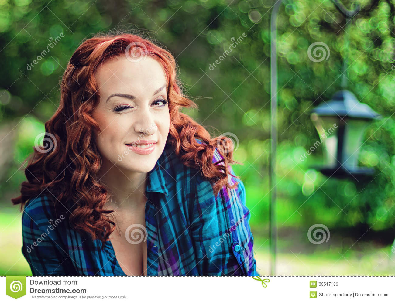 watching Redhead beauty outdoor