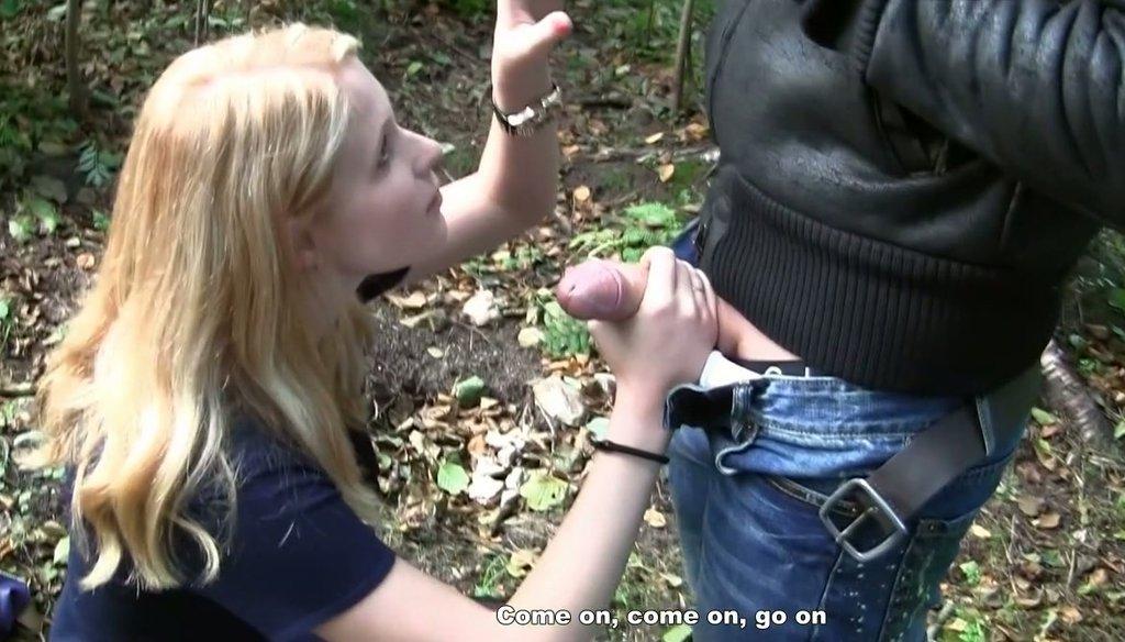 Amateur outdoor blonde uncut